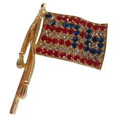 Vintage Hollycraft Spirit Of 76 American Flag Patriotic Rhinestone Pin Brooch