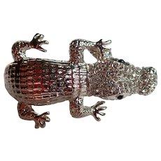 Sparkley Alligator Silver Tone Statement Clamper Bracelet