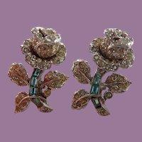 1940's Corocraft Pave Rhinestone Diamante Roses Pin Fur Clip Flower Duette