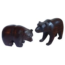 Pair Of Hand Carved Iron Wood Bears - Rustic Lodge Decor