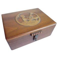 Vintage Girl At Desk Carved Cedar Jewelry Keepsake Trinket Box