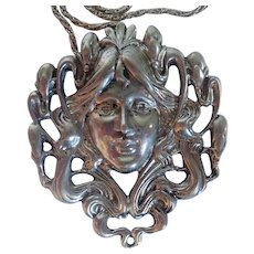 Vintage Hudson Pewter Art Nouveau Inspired Girl With Flowing Hair Pendant And Sterling Chain