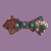 Vintage Copper With Painted Enamel And Molded Glass Stones Two Piece Dress Belt Buckle