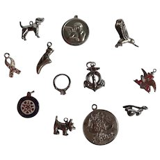 Lot Of 12 Sterling And Silver Tone Charms Fun And Whimsical!