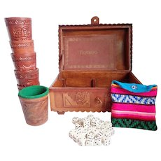 Vintage Inca PERUDO Dice of the Andes Game In Hand Tooled Leather Case And Dice Cups