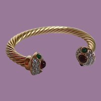 Vintage Gold Tone Twisted Cable Cuff Bracelet With Jeweled Ends