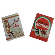Vintage Lucky Strike And Chesterfield Pocket Ashtrays Never Used In Original Boxes