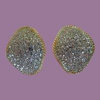 Vintage Piscitelli Crystal Encrusted Clip Earrings