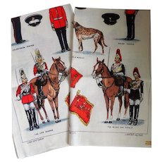 "Vintage Pair Of Lamont Linen And Cotton UK ""The Guards"" Tea Towels"
