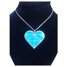 Vintage Native American Turquoise Channel Set In Sterling Heart Pendant
