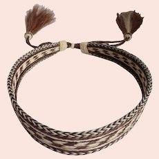 "Braided Horse Hair Hat Band Adjustable With 5"" Tassels"