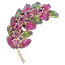 Vintage Luscious Pink And Green Sculptural Leaf Pin Brooch