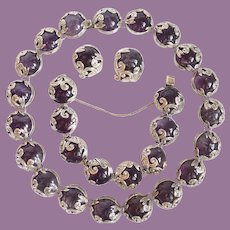 Los Castillo Fish in Waves Sterling And Amethyst Fish In Waves Necklace Bracelet Earrings
