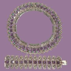 Vintage Plateria Cecilia of Mexico City Sterling Amethyst And Turquoise Necklace And Bracelet