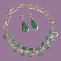 Vintage Taxco Mexican Malachite Sterling Necklace And Earrings