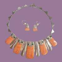 Vintage South American 950 Silver Spiney Oyster And Malachite Collar Necklace And Earrings