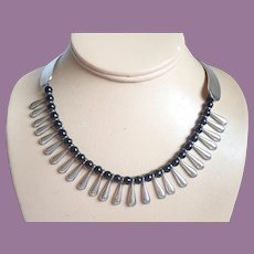 Vintage TAXCO Mexican Signed EBH Sterling And Onyx Cleopatra Collar Necklace