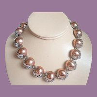 Vintage Sterling And Copper Fish In Waves Mexican Necklace