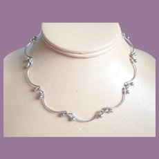 Sterling Silver Scallop And Raindrops Minimalist Necklace