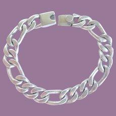 """Vintage Figaro Sterling Link Bracelet 7 1/2"""" 45 Grams"""