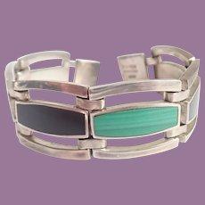 Vintage Taxco Mexican 950 Silver Onyx Malachite Panel Link Bracelet