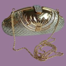 Vintage Clam Shell Rhinestone And Faux Snakeskin Clutch Or Shoulder Purse