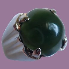 Sterling Silver Spinach Green Jade Large Cabochon Ring Size 12 1/2
