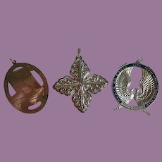 Vintage (3) Sterling Christmas Ornaments Wallace/Lunt/Reed & Barton