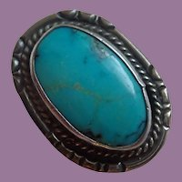 Vintage Native American Turquoise And Sterling Ring