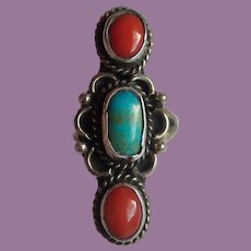 Vintage Native American Style Turquoise And Coral Ring