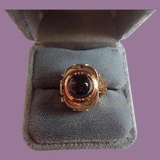 Vintage 18K Yellow Gold European Amethyst Watch Ring