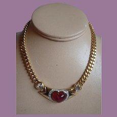 Vintage Chunky Gold Tone Triple Heart Choker Necklace