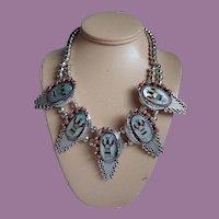 Vintage Navajo Roland Hogan Begay (R.B.H.) Inlay Apache Crown Mountain Spirit Gaan Dancer Necklace