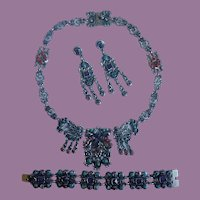 Vintage Matilde Poulat MATL Inspired Necklace Bracelet Earrings Sterling Silver, Amethyst and Turquoise Parure