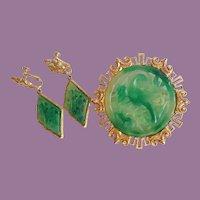 Vintage 1960's Vendome Chinese Motif Faux Jade Phoenix Bird Large Pin Brooch And Earrings