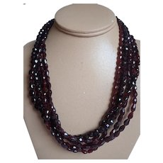 Estate Multi Strand Faceted Natural Garnet Beads With 14k Clasp