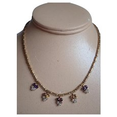Estate Victorian 18K Gold Necklace With Diamonds Garnets Amethyst Citrine Clusters With Tube Clasp