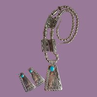 Vintage R. Wylie Navajo Sterling And Turquoise Abstract Thunderbird Necklace Earrings