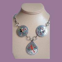 Vintage Native American Raymond Boyd Navajo Sterling Silver Inlay Bird Necklace