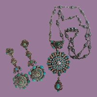 Antique Victorian Austro Hungarian Turquoise Seed Pearls Necklace And Earrings