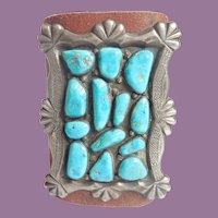 Vintage Native American Ketoh Bow Guard Turquoise And Sterling On Leather