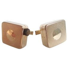 Vintage Miniature Music Box Colibri Music Box and Pill Box Gold Tone Cufflinks