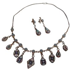 Antique Victorian Micro Mosaic Necklace And Earrings