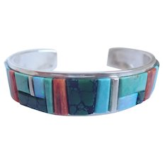 Edison Yazzie Navajo Turquoise, Spiny Oyster, Opal And More Coblestone Inlay Cuff Bracelet