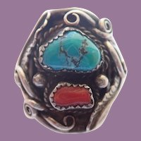 Vintage Navajo Native American Substantial Sterling Turquoise And Coral Ring