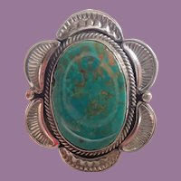 Vintage Harry Morgan Navajo Exceptional Turquoise Sterling Ring