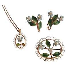 Vintage Krementz 14k Overlay Forget Me Not Pendant Earrings Brooch Pin Cultured Pearls