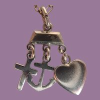Vintage Sterling Three Virtues Faith Hope And Charity Religious Pendant On Sterling Chain