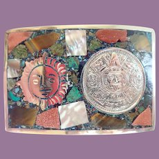 Vintage Mexican Alpaca Mayan Calendar Sun Face With Inlaid Gold Stone Abalone Turquoise Buckle