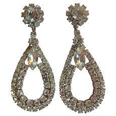 Vintage Glamour Chandelier Prong Set Rhinestone Dramatic Clip Earrings